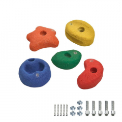 5 Fargede klatresteiner 90 mm